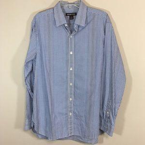 Michael Kors Mens Blue White Plaid LS Shirt Large